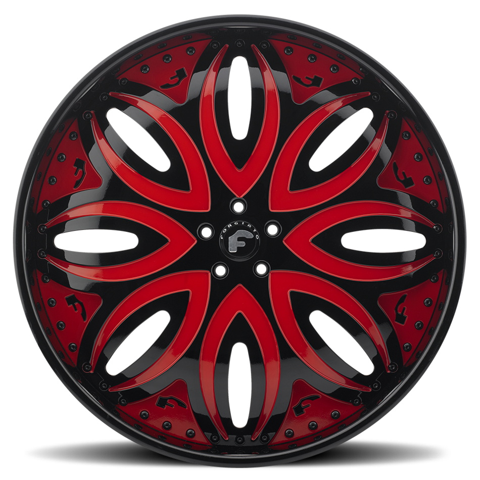 Forgiato Giordano-L Black and Red Center with Black Lip Finish Wheels