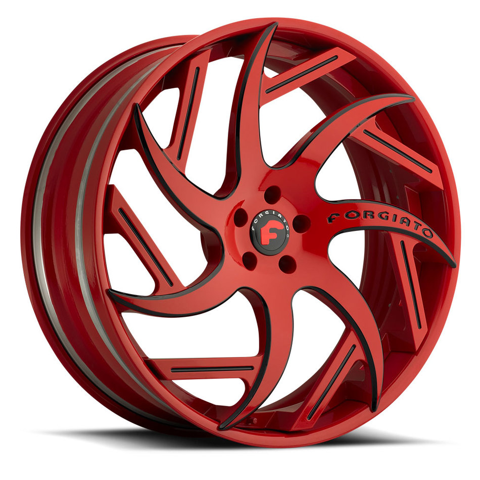 Forgiato Girare-ECL Red and Black Center with Red Lip Finish Wheels