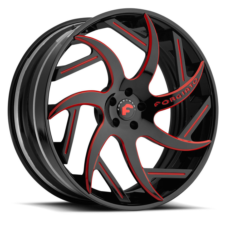 Forgiato Girare-ECL Black and Red Center and Black Lip Finish Wheels