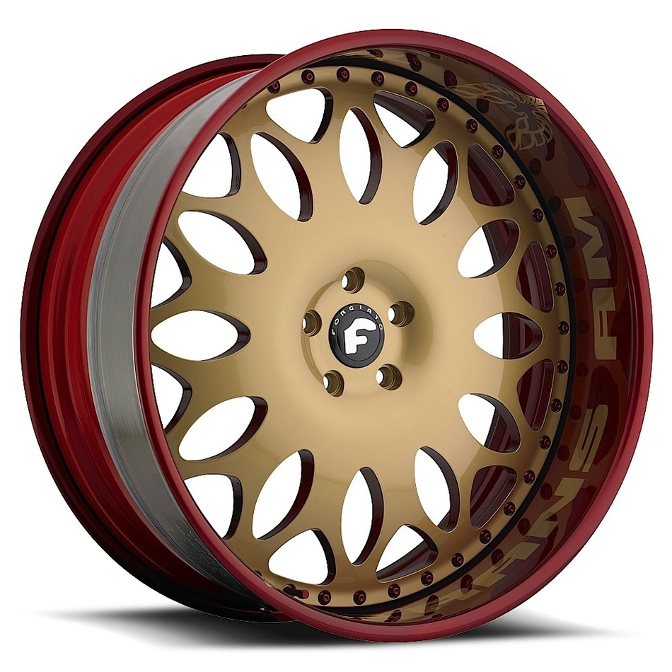 Forgiato Grano Gold Center with Red Lip Finish Wheels