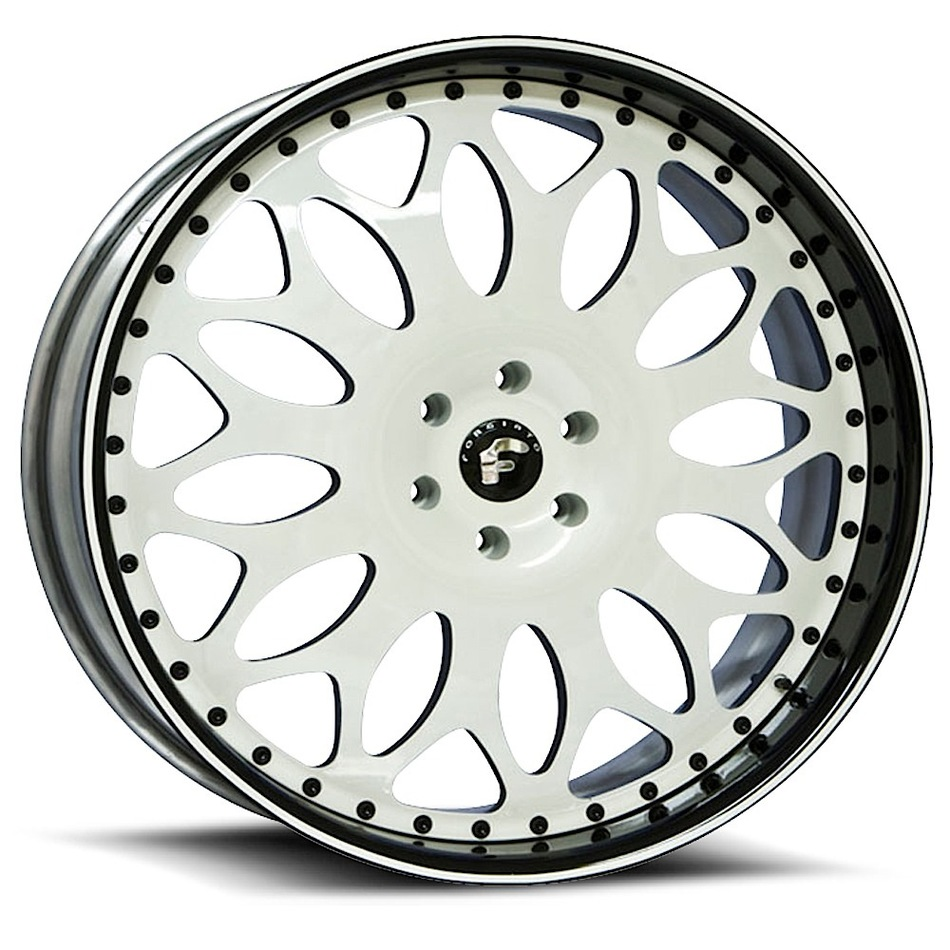 Forgiato Grano White Center with White and Black Lip Finish Wheels