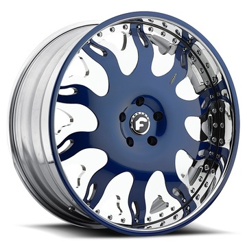 Forgiato Grassetto Chrome and Blue Center with Chrome and Blue Lip Finish Wheels