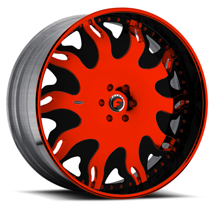 Forgiato Grassetto Red and Black Center with Black and Red Lip Finish Wheels