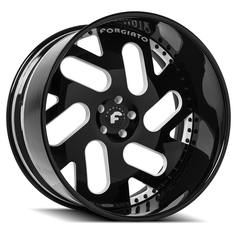 Forgiato Indierto-B Black and White Center with Black Lip Finish Wheels