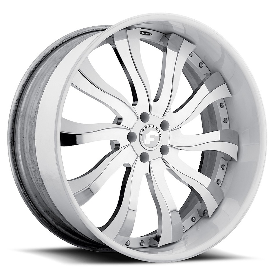 Forgiato Inferno Chrome and White Center with White Lip Finish Wheels