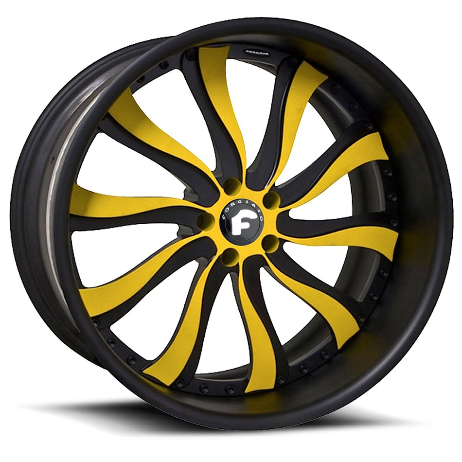 Forgiato Inferno Black and Yellow Center with Black Lip Finish Wheels