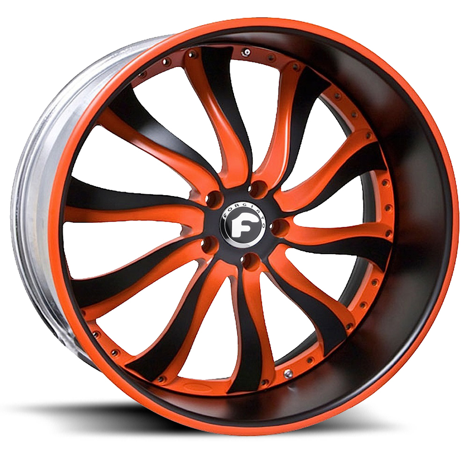 Forgiato Inferno Orange and Black Center with Black and Orange Lip Finish Wheels