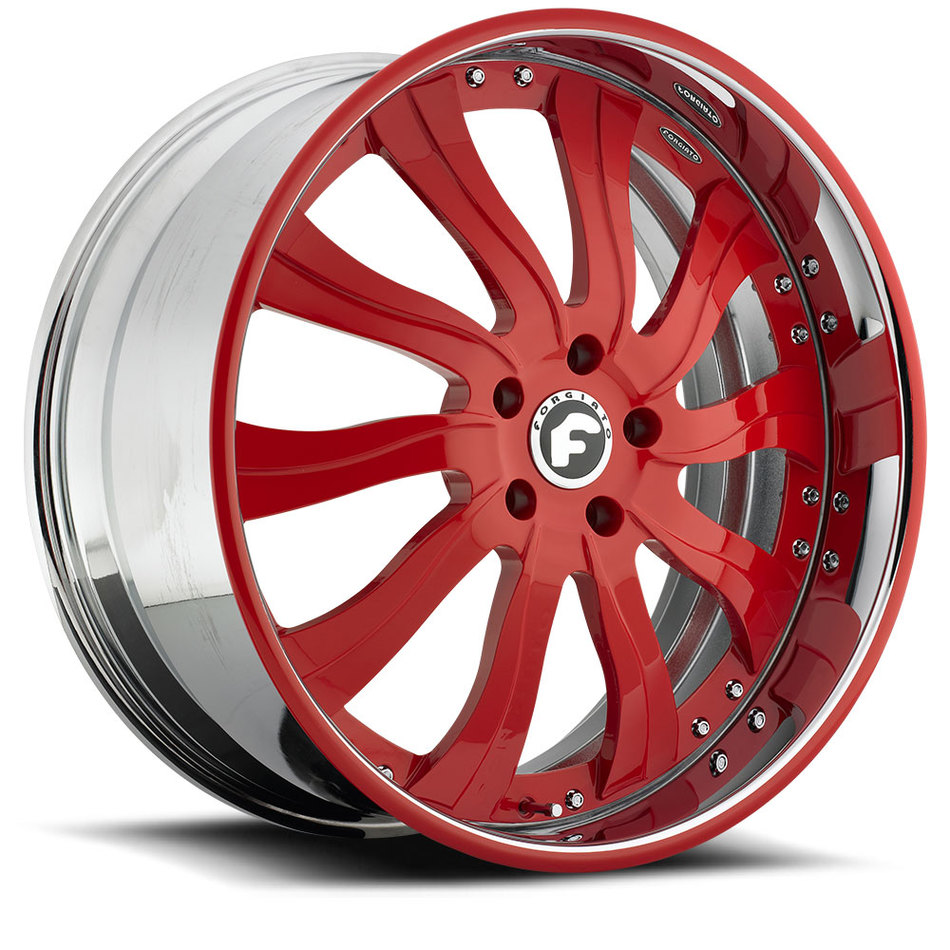 Forgiato Inferno Red Center with Chrome and Red Lip Finish Wheels
