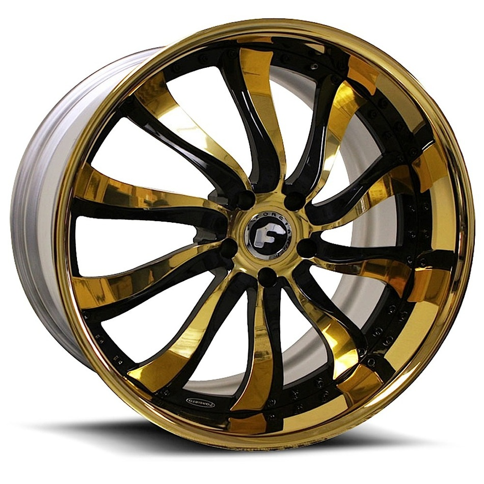 Forgiato Inferno Gold and Black Center with Gold Lip Finish Wheels