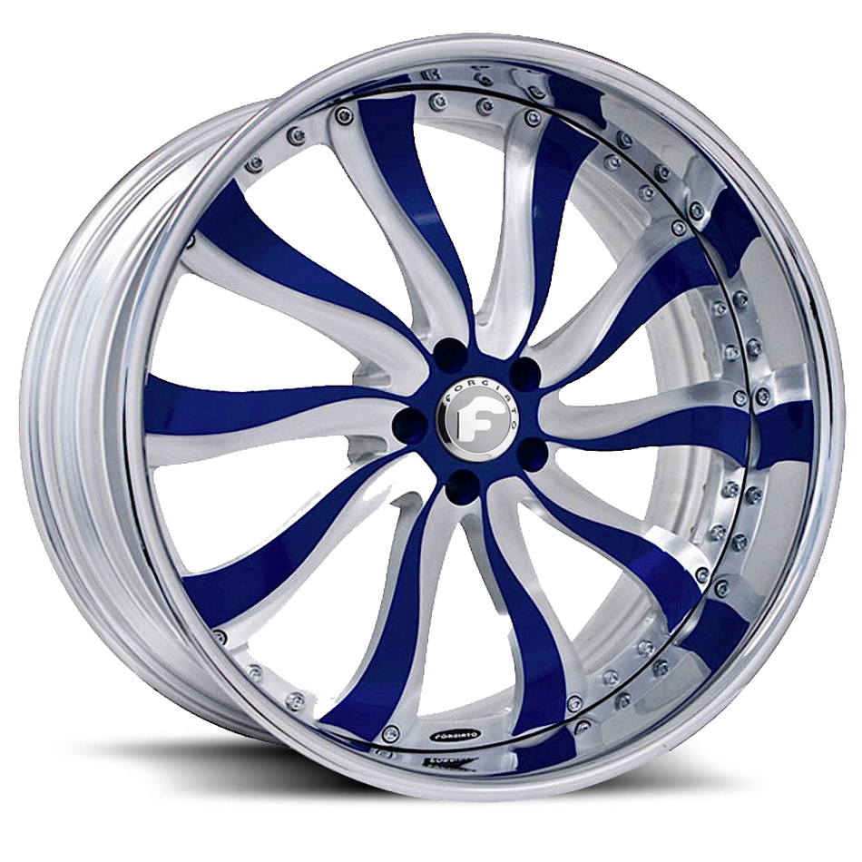 Forgiato Inferno Satin and Blue Center with Chrome Lip Finish Wheels