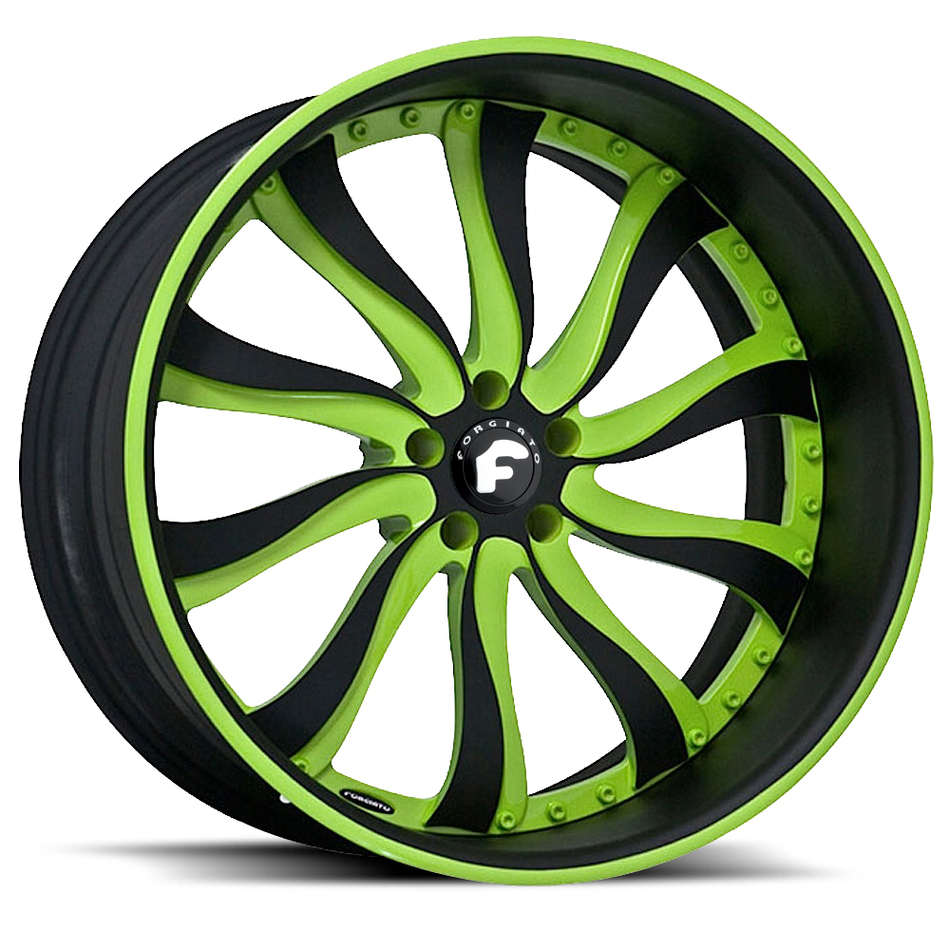 Forgiato Inferno Green and Black Center with Black and Green Lip Finish Wheels