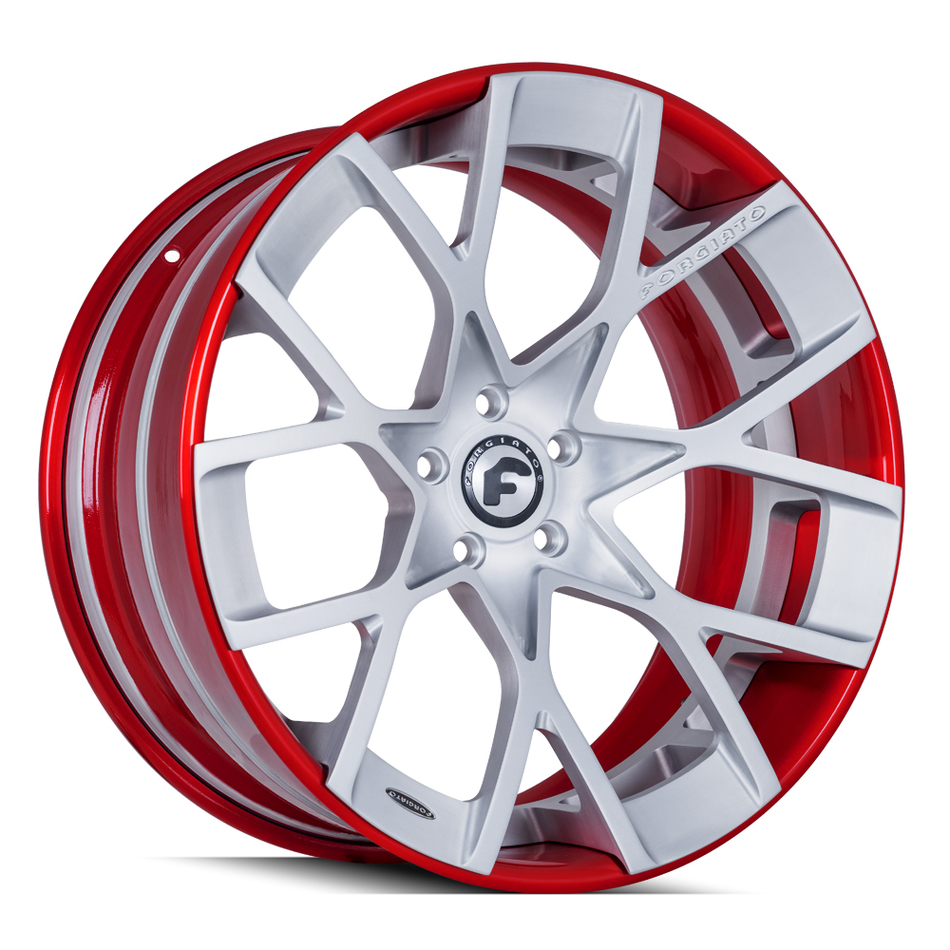 Forgiato Insetto-ECL Brushed and Red Finish Wheels