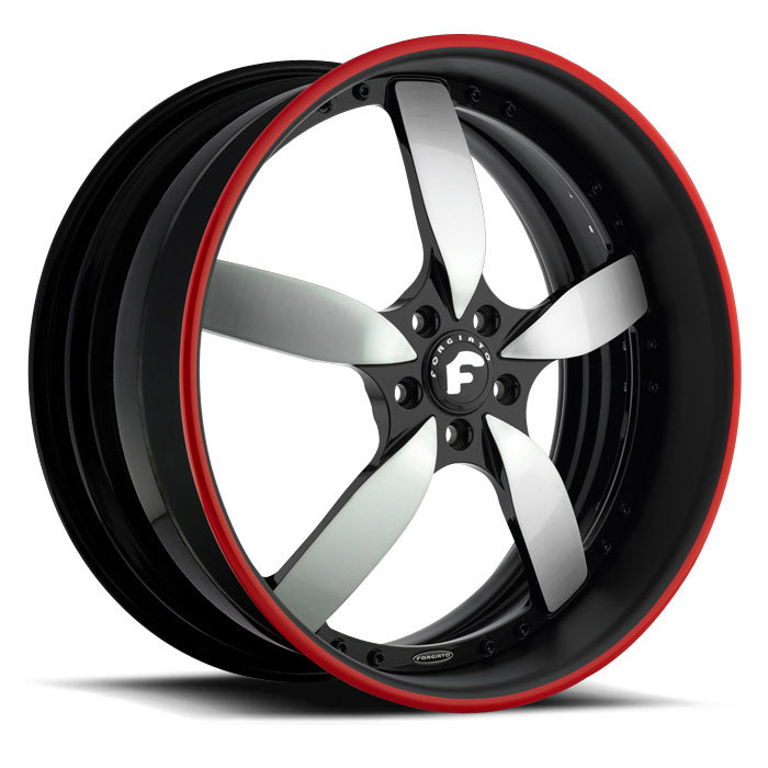 Forgiato Ito Satin and Black Center with Black and Red Lip Finish Wheels