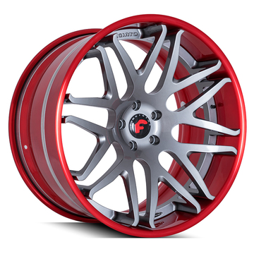 Forgiato Kato-1-ECL Matte Grey Center with Red Lip Finish Wheels