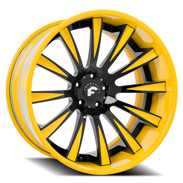 Forgiato Lavorato-B Black and Yellow Center with Yellow Lip Finish Wheels