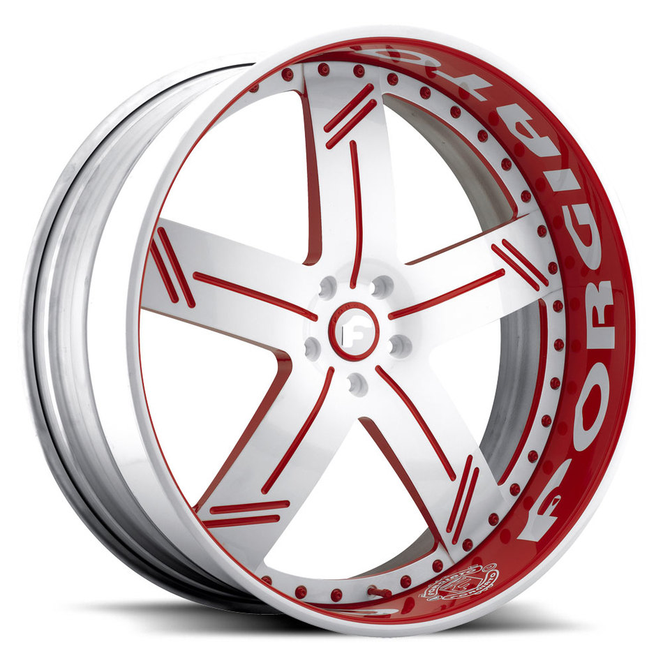 Forgiato Linee White and Red Center with Red and White Lips Finish Wheels