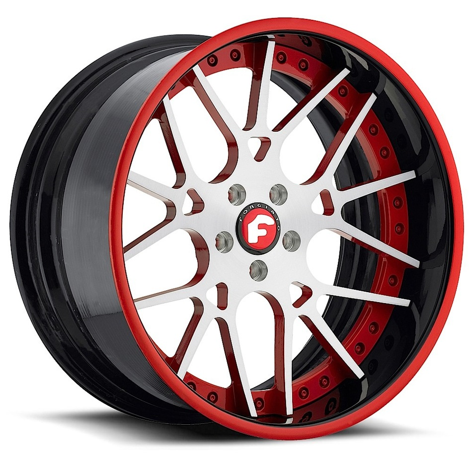 Forgiato Maglia Satin and Red Center with Black and Red Lip Finish Wheels