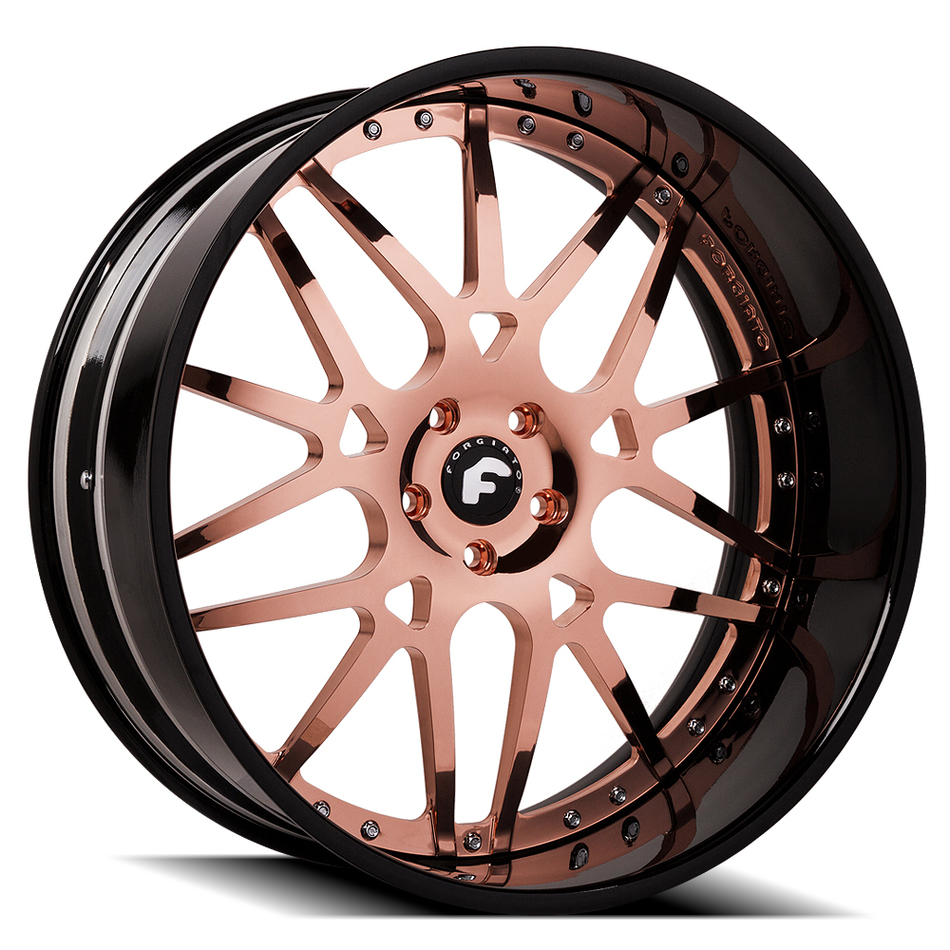 Forgiato Maglia Rose Gold Center and Black Lip Finish Wheels