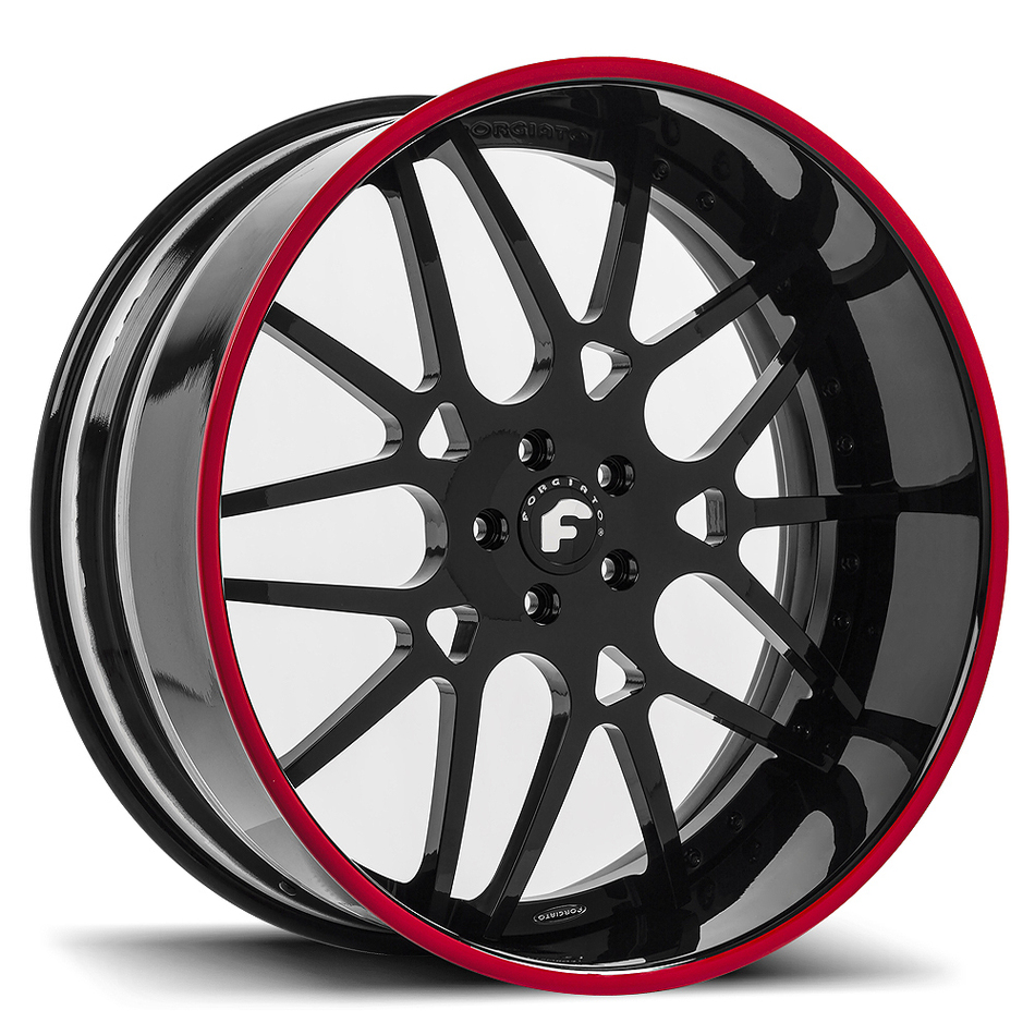 Forgiato Maglia Black Center with Black and Red Lip Finish Wheels