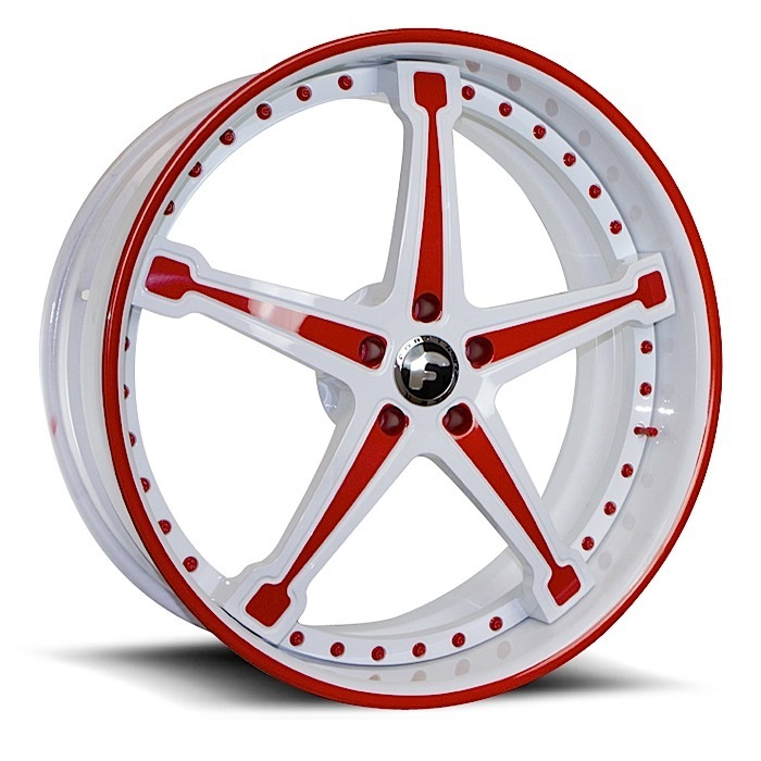 Forgiato Martellato White and Red Center with White and Red Lip Finish Wheels