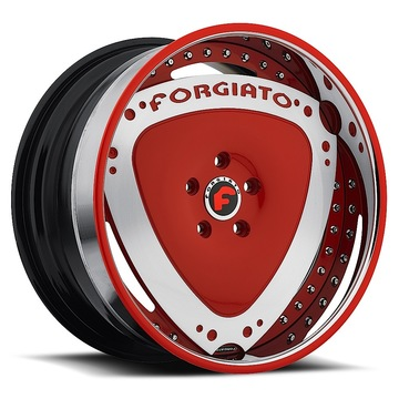 Forgiato Maschili Red and Chrome Center with Chrome and Red Lip Finish Wheels