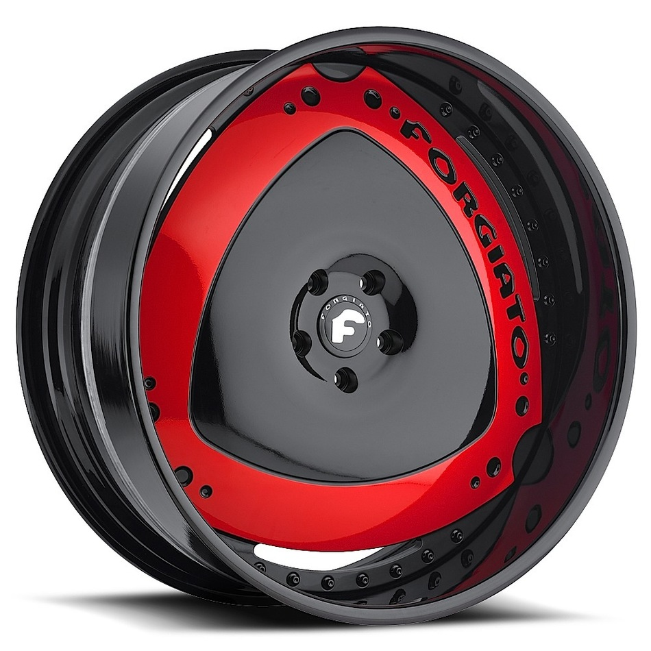 Forgiato Maschili Black and Red Center with Black Lip Finish Wheels
