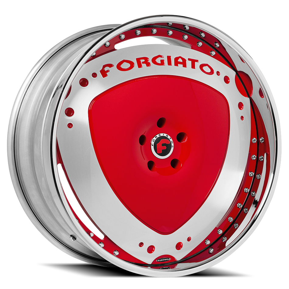 Forgiato Maschili Red and Satin Center with Chrome and Red Lip Finish Wheels