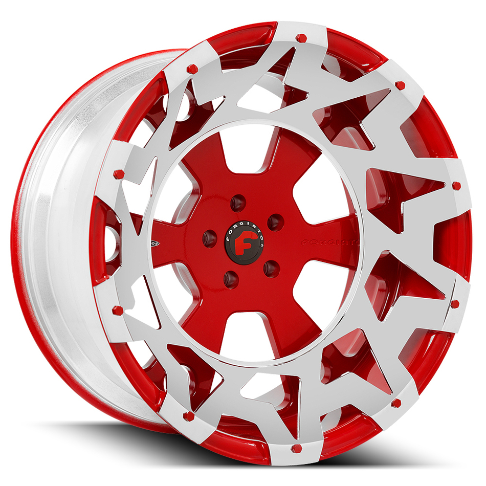Forgiato Massa-T Red Center with Chrome Inserts Finish Wheels