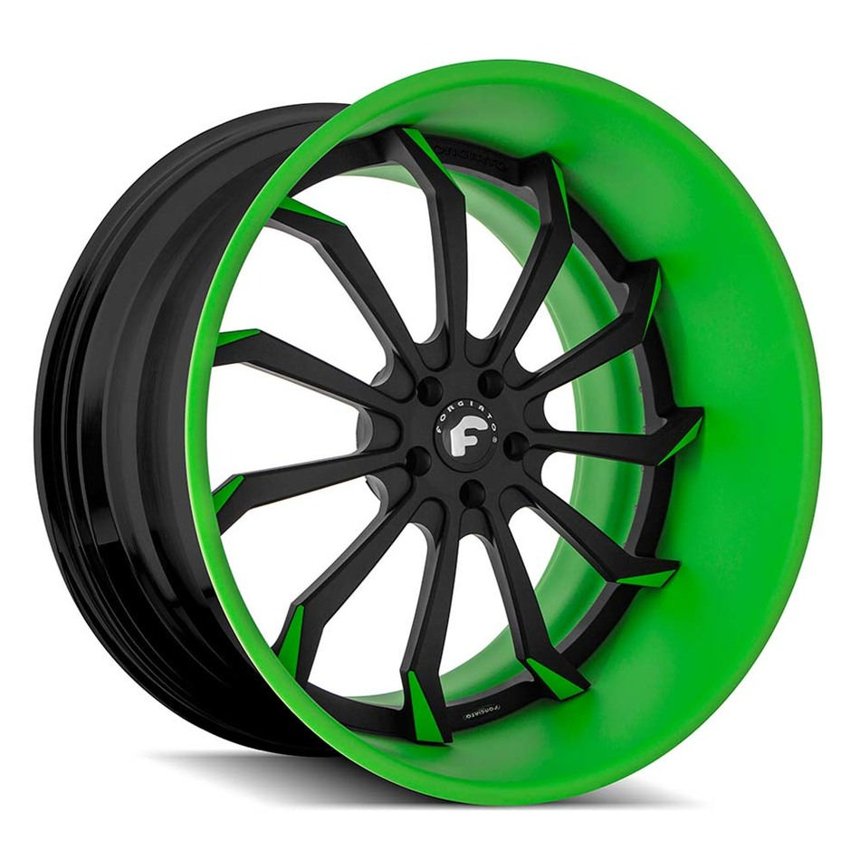 Forgiato Navaja Black and Green Finish Wheels