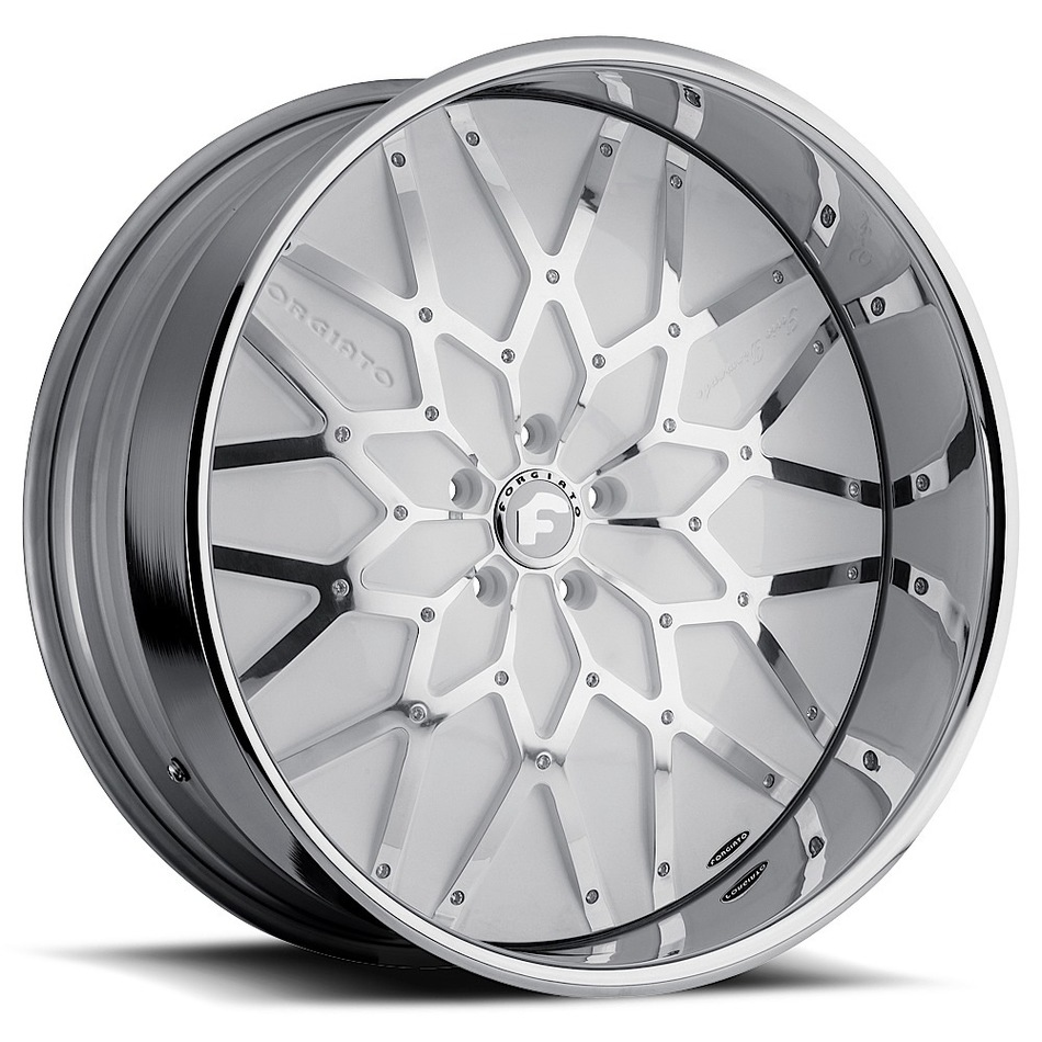 Forgiato Niddo White and Chrome Center with Chrome Lip Finish Wheels