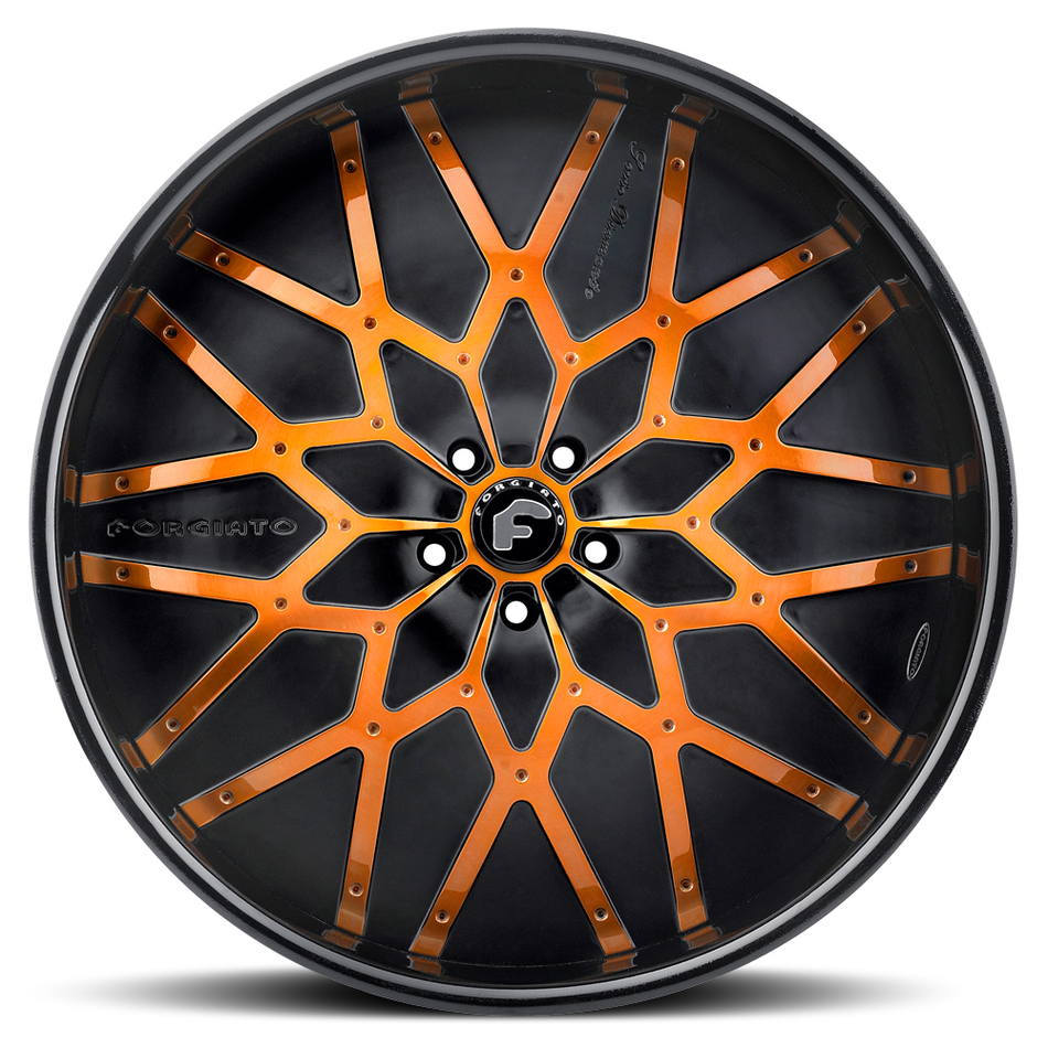 Forgiato Niddo Orange and Black Center with Black Lip Finish Wheels