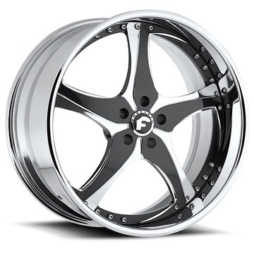 Forgiato Opposti Chrome and Carbon Center with Chrome Lip Finish Wheels
