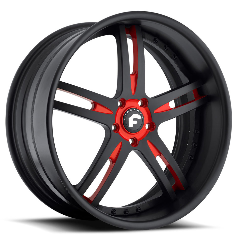 Forgiato Pianura Black and Red Center with Black Lip Finish Wheels