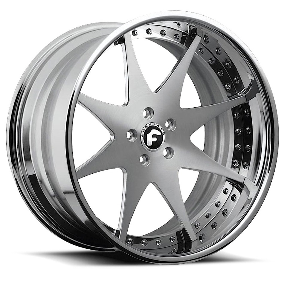 Forgiato Piastra Satin Center Finish with Chrome Lip Finish Wheels