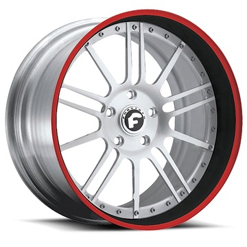 Forgiato Piuma Satin Center with Black and Red Lip Finish Wheels