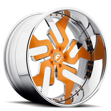 Forgiato Prometeo-L Orange and Chrome Center with Chrome Lip Finish Wheels