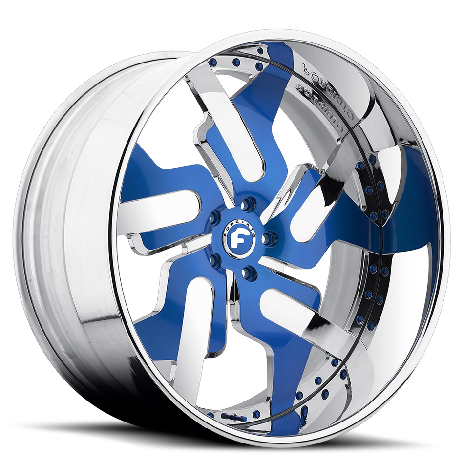 Forgiato Prometeo-L Blue and Chrome Center with Chrome Lip Finish Wheels