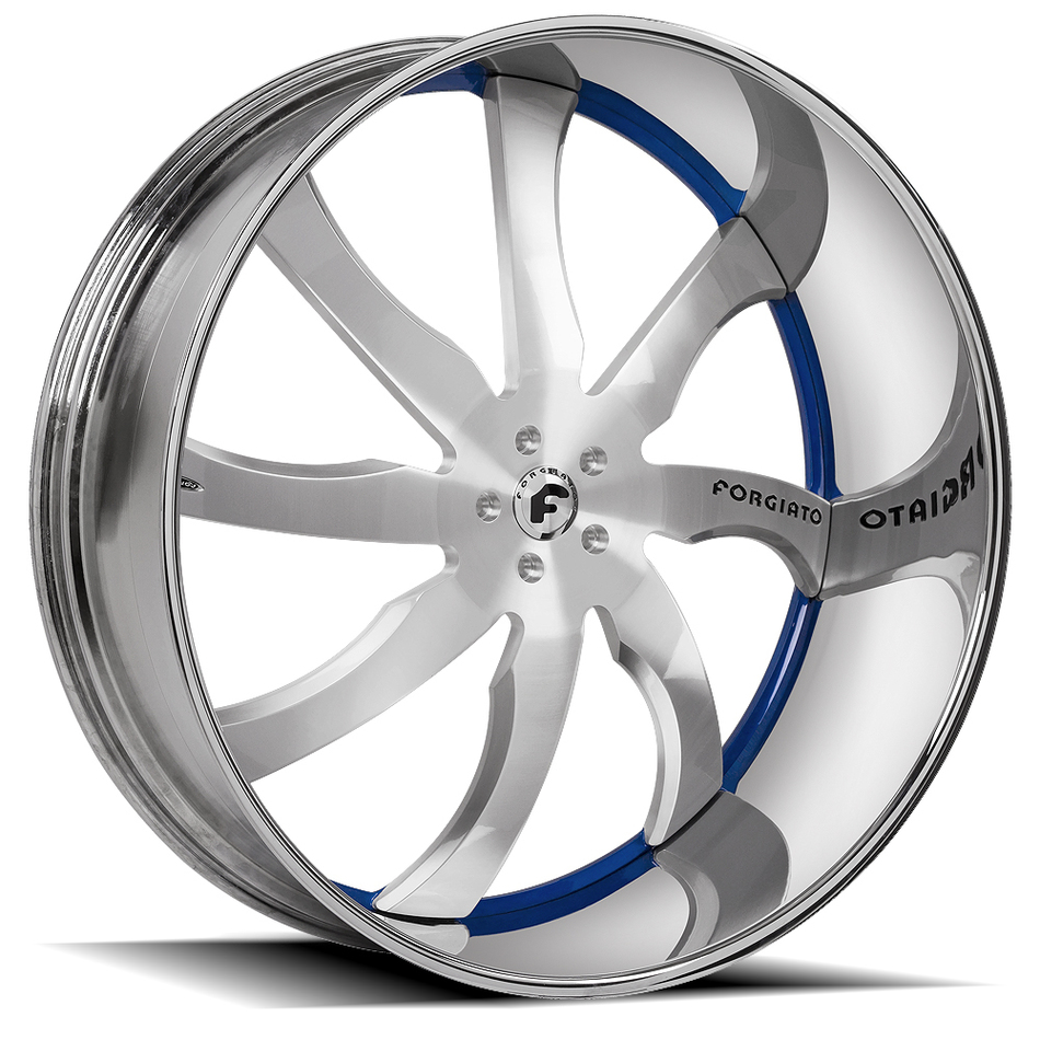 Forgiato Quattresimo Silver and Blue Center with Chrome Lip Finish Wheels