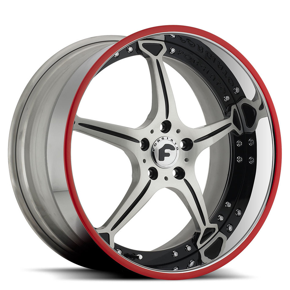 Forgiato Quinto Satin and Black Center with Chrome and Red Lip Finish Wheels