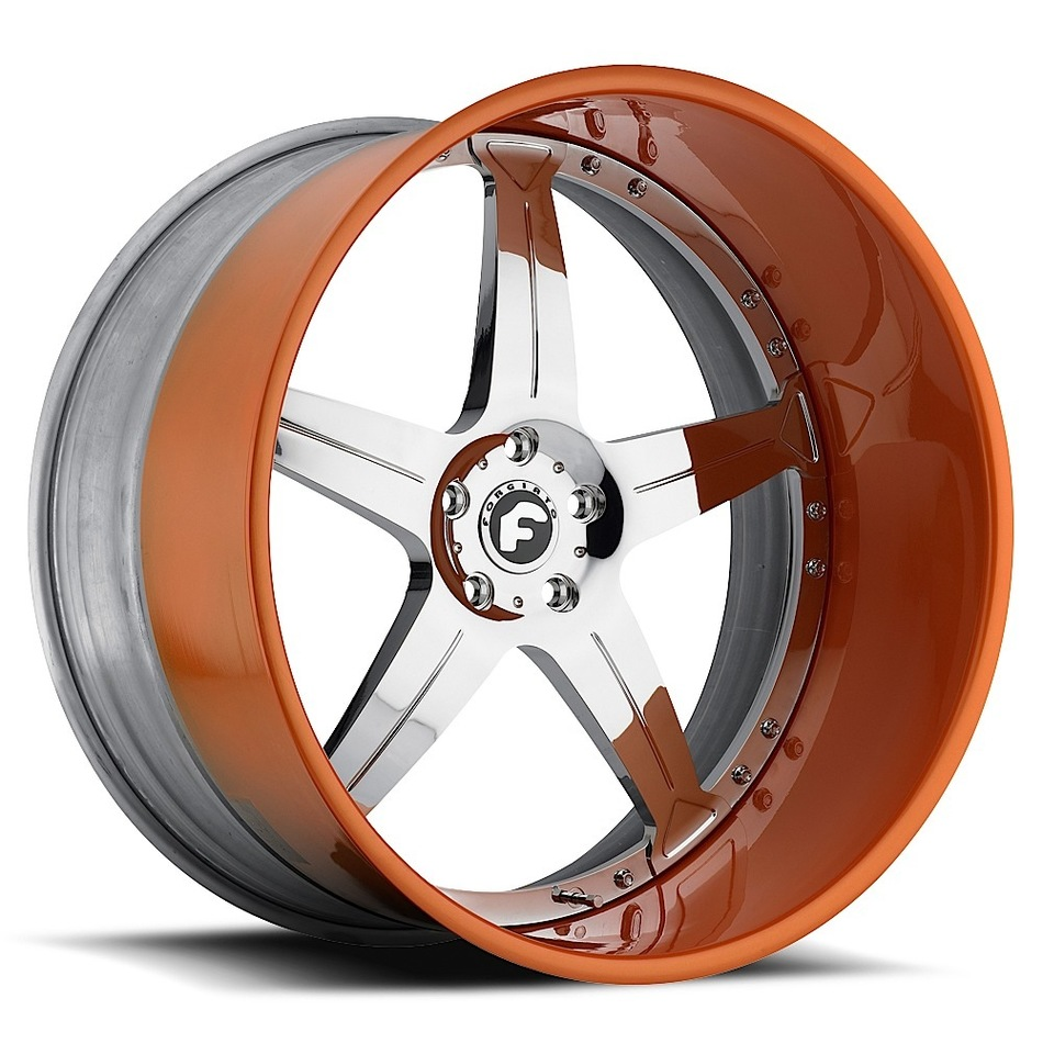 Forgiato Quinto Chrome Center with Orange Lip Finish Wheels