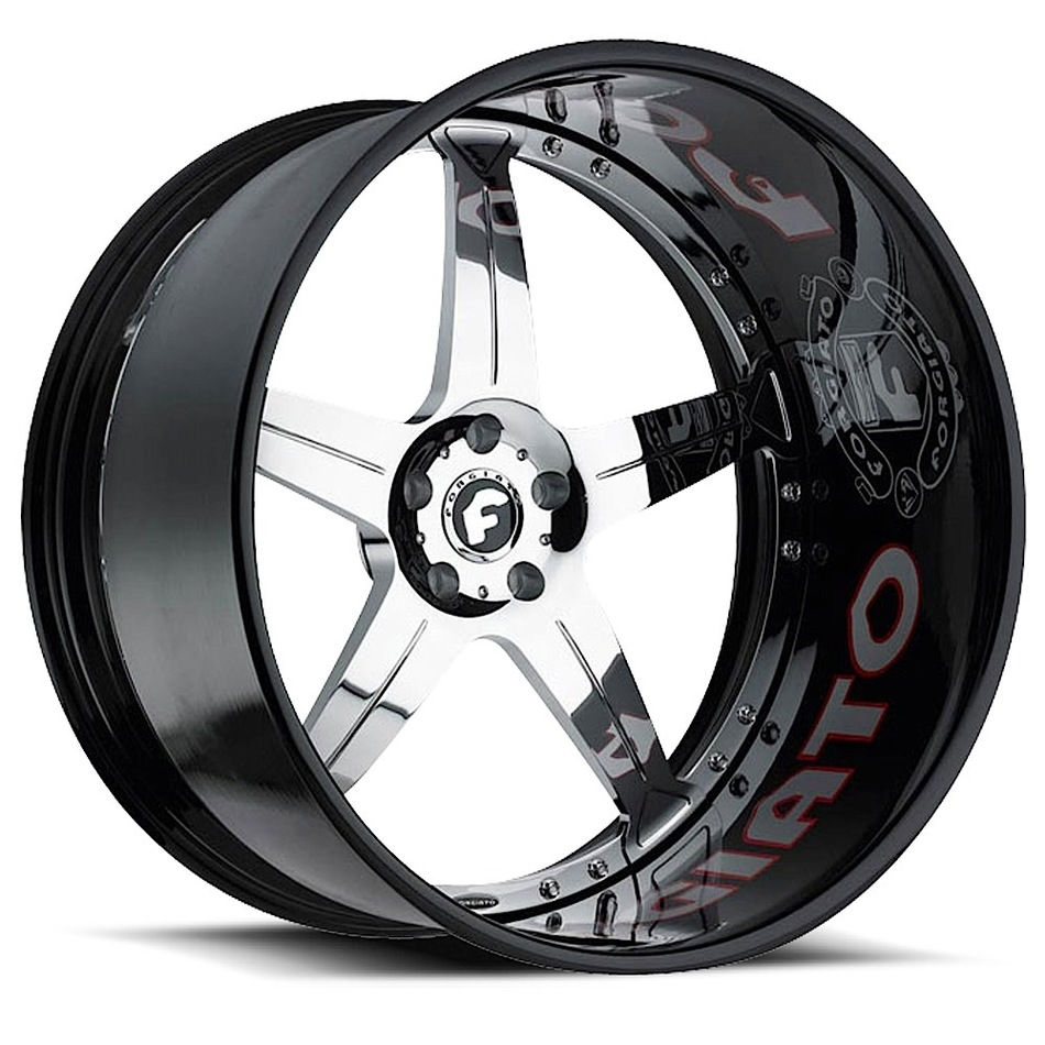 Forgiato Quinto Chrome Center with Black Lip Finish Wheels