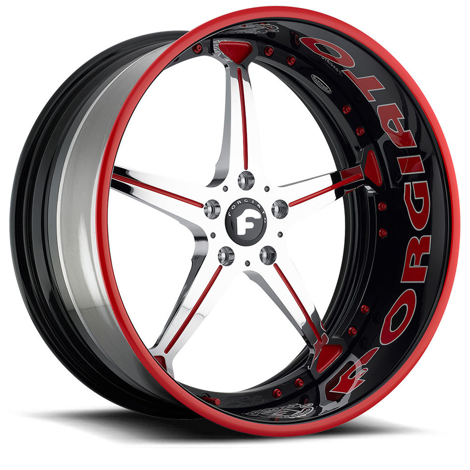 Forgiato Quinto Chrome and Red Center with Black and Red Lip Finish Wheels