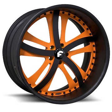 Forgiato Rasoio Orange and Black Center with Black Lip Wheels