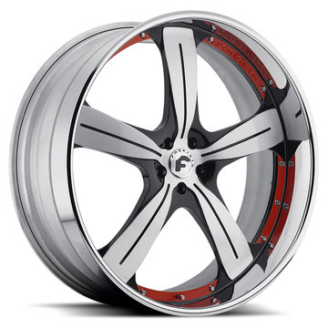 Forgiato Ritorno Satin Black and Red Center with Chrome Lip Finish Wheels