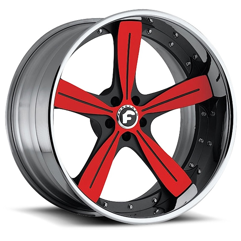 Forgiato Ritorno Red and Black Center with Chrome Lip Finish Wheels