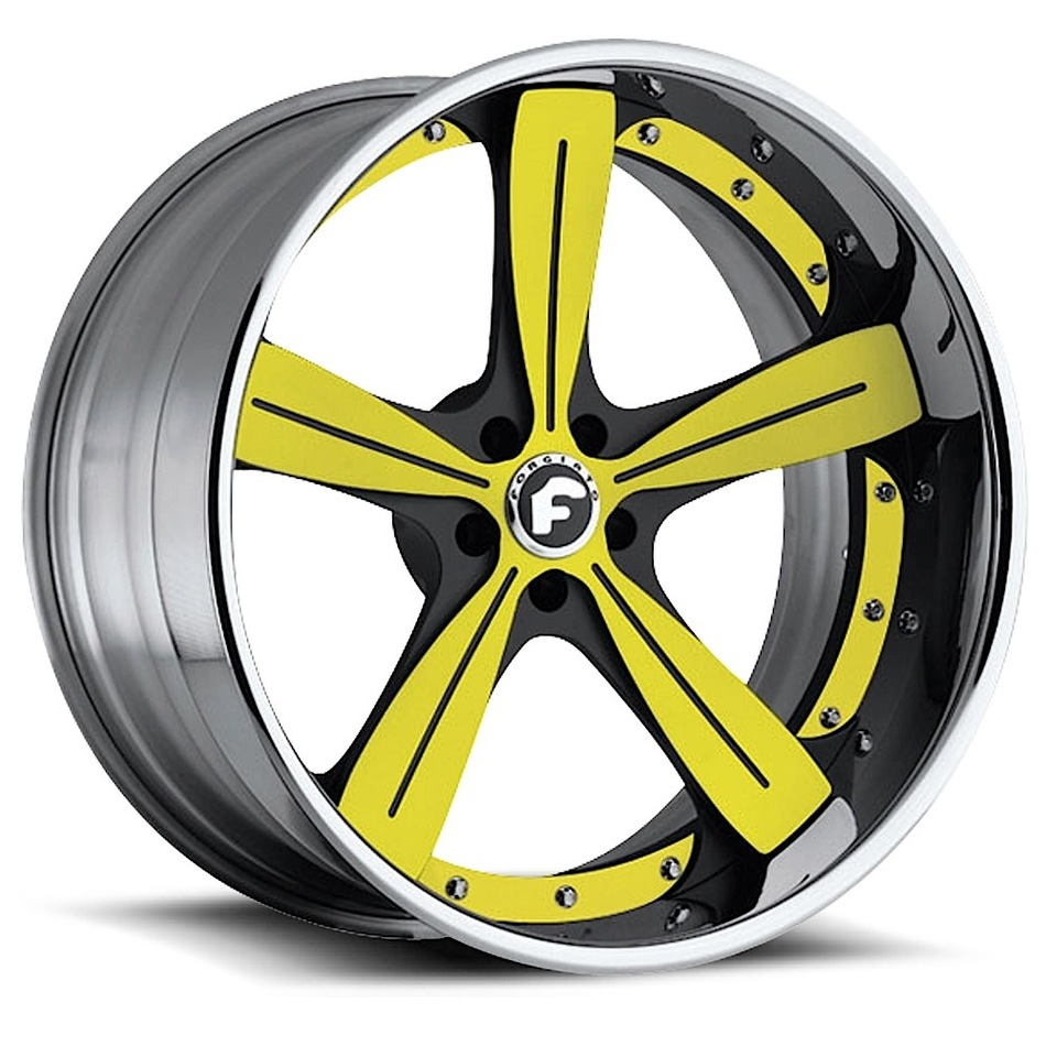 Forgiato Ritorno Yellow and Black Center with Chrome Lip Finish Wheels