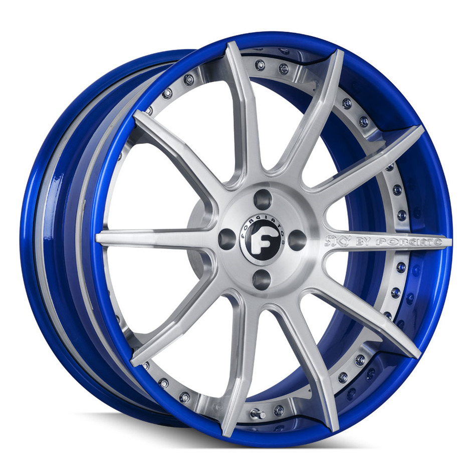 Forgiato S206-ECX Brushed and Blue Finish Wheels