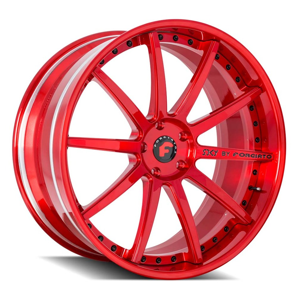 Forgiato S206 Brushed Red Finish Wheels