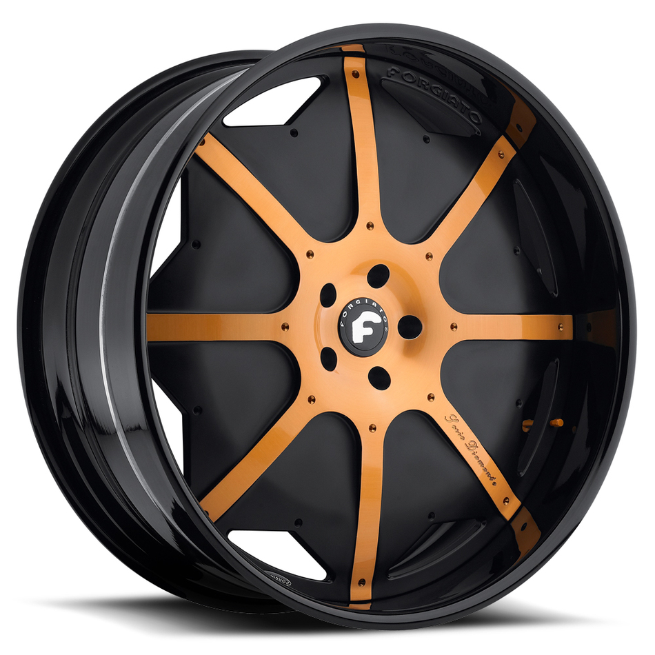 Forgiato Scudo Black and Orange Center with Black Lip Finish Wheels