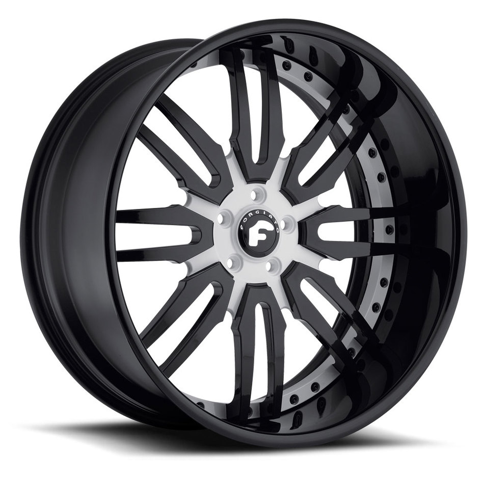 Forgiato Sedici Black and Satin Center with Black Lip Finish Wheels